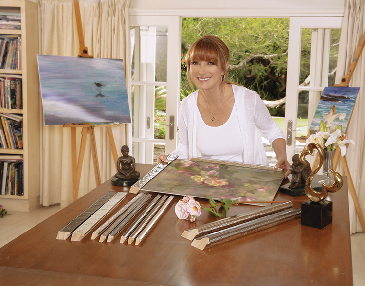 Jane Seymour makes frame selections for her new line with Fotiou Frames (original paintings by Jane Seymour).